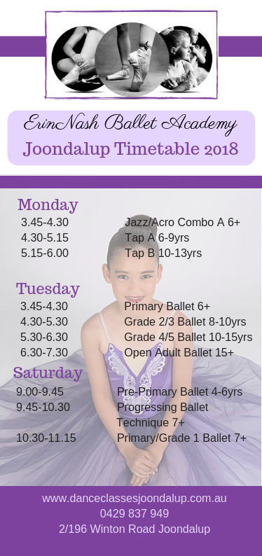 Term 1 Timetable – Erin Nash
